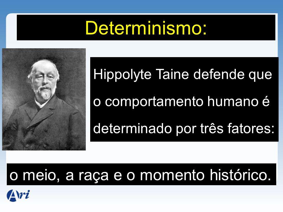Determinismo: o meio, a raça e o momento histórico.