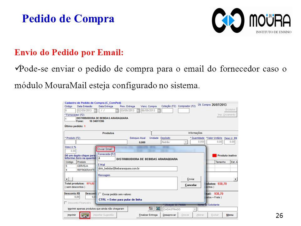 Pedido de Compra Envio do Pedido por Email:
