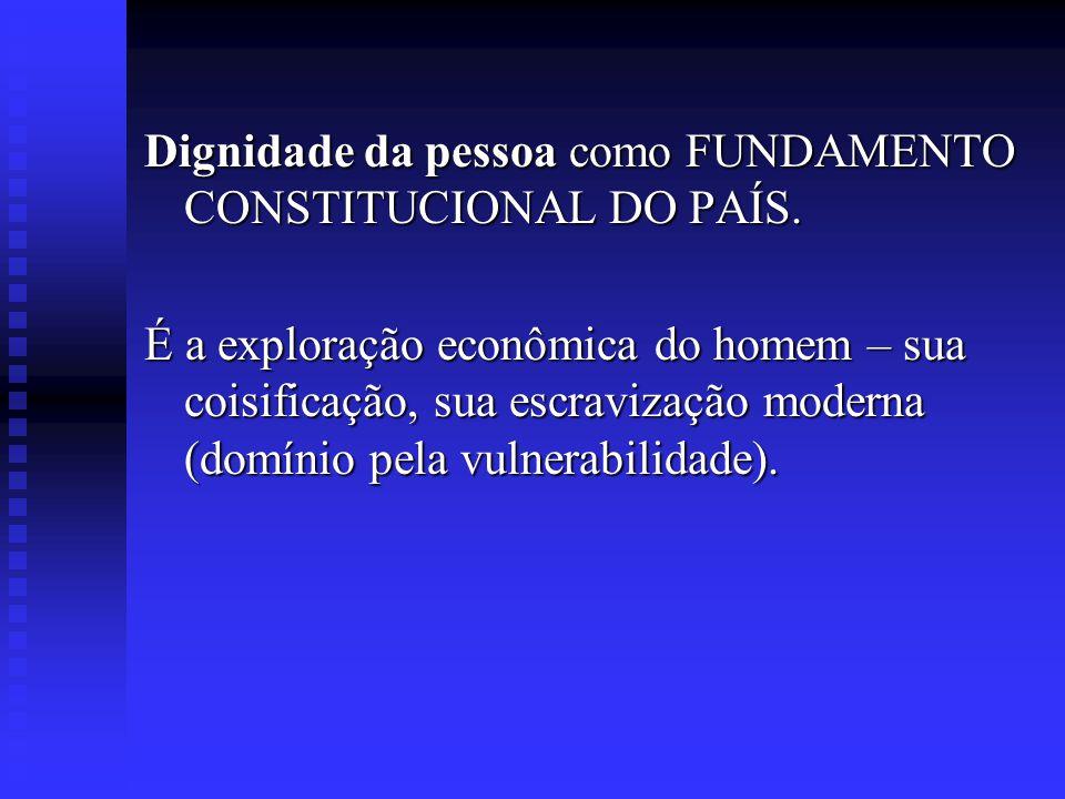 Dignidade da pessoa como FUNDAMENTO CONSTITUCIONAL DO PAÍS.