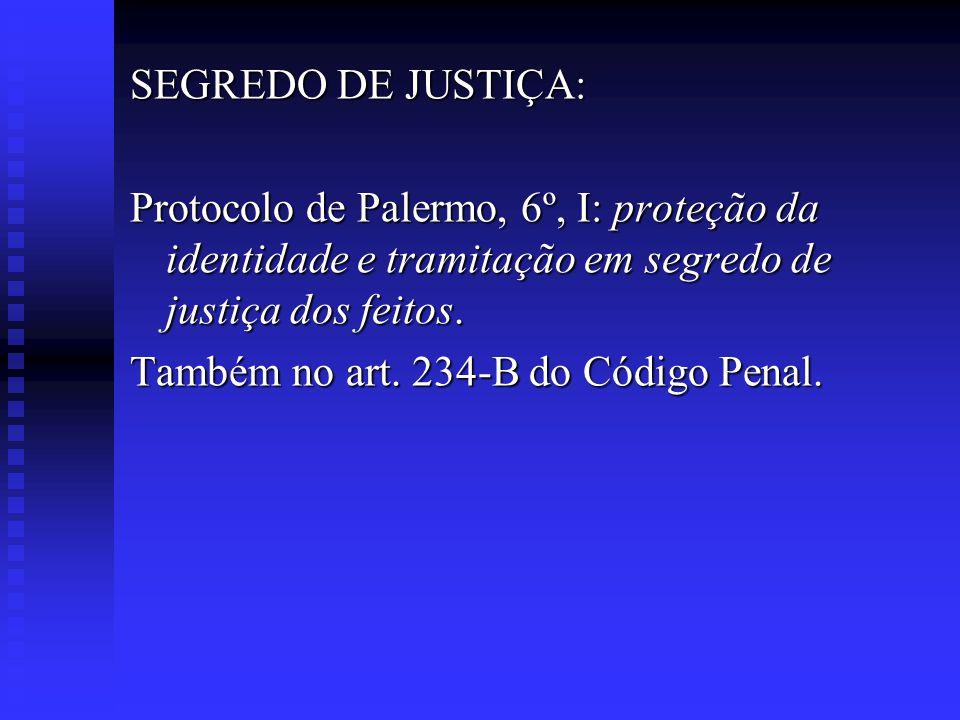 SEGREDO DE JUSTIÇA: Protocolo de Palermo, 6º, I: proteção da identidade e tramitação em segredo de justiça dos feitos.