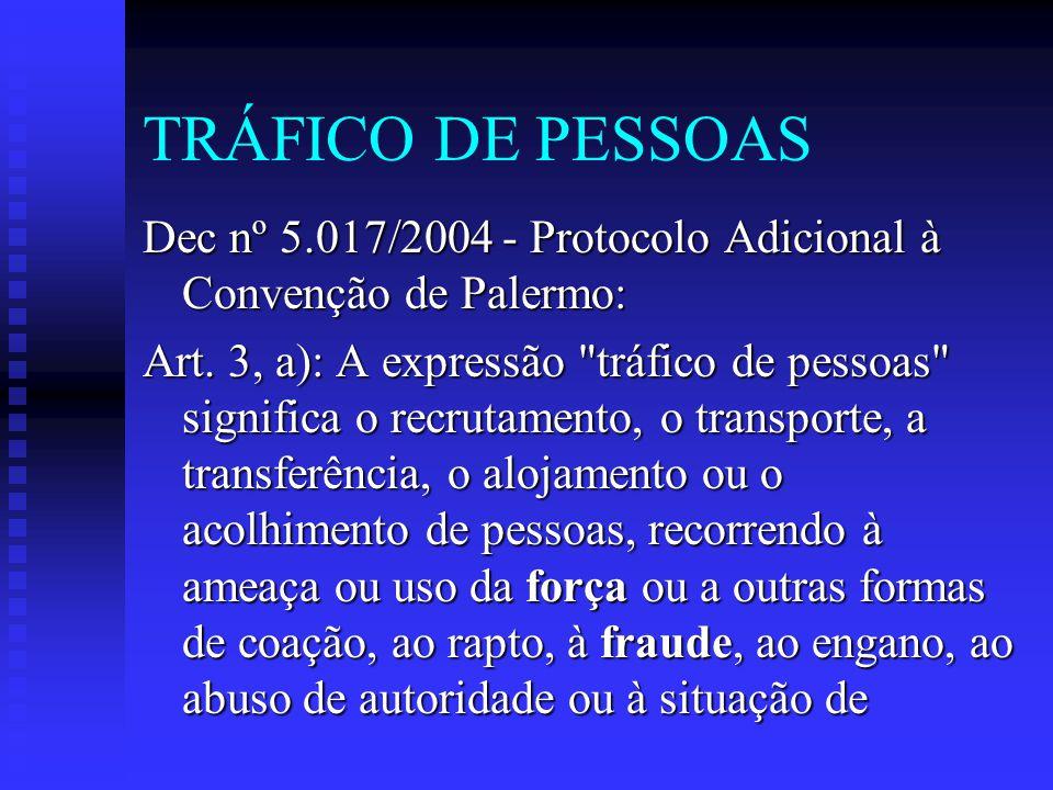 TRÁFICO DE PESSOAS Dec nº 5.017/2004 - Protocolo Adicional à Convenção de Palermo:
