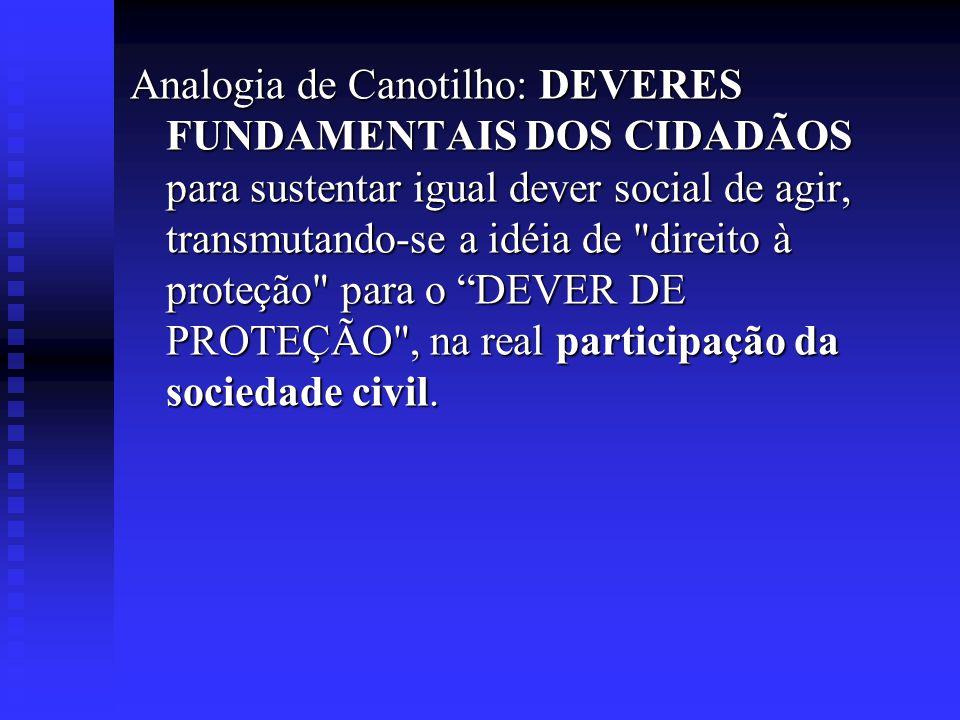 Analogia de Canotilho: DEVERES FUNDAMENTAIS DOS CIDADÃOS para sustentar igual dever social de agir, transmutando-se a idéia de direito à proteção para o DEVER DE PROTEÇÃO , na real participação da sociedade civil.