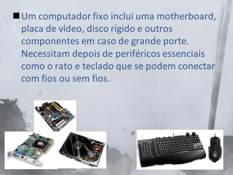Um computador fixo inclui uma motherboard, placa de vídeo, disco rígido e outros componentes em caso de grande porte.