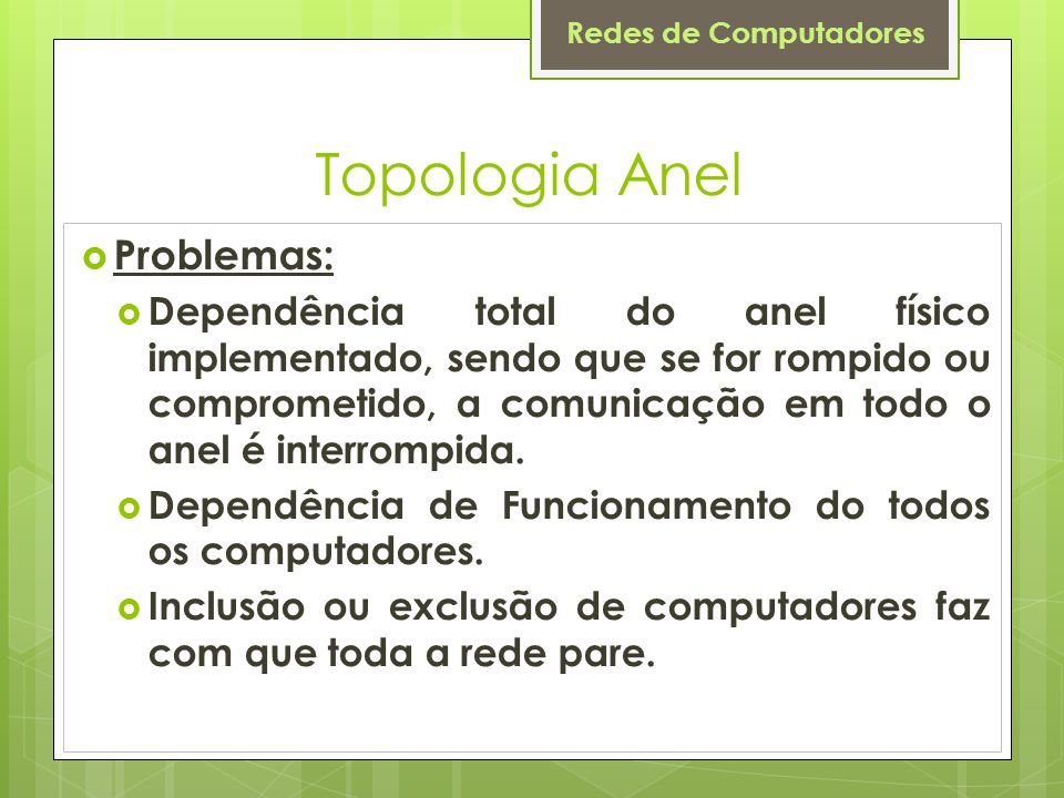 Topologia Anel Problemas: