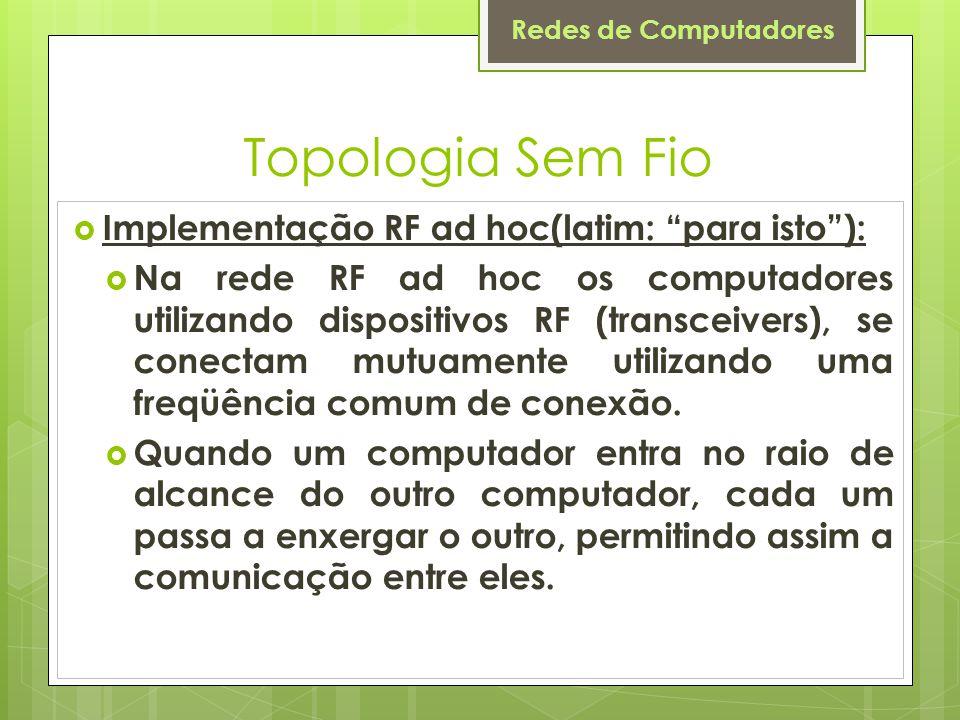 Topologia Sem Fio Implementação RF ad hoc(latim: para isto ):