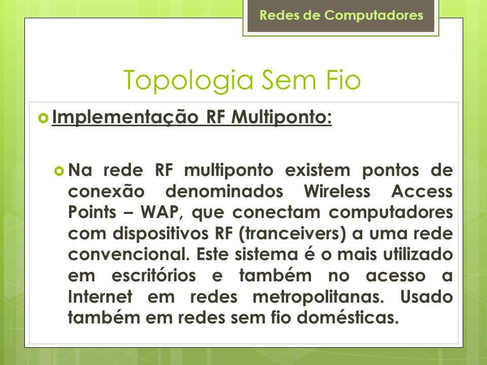 Topologia Sem Fio Implementação RF Multiponto: