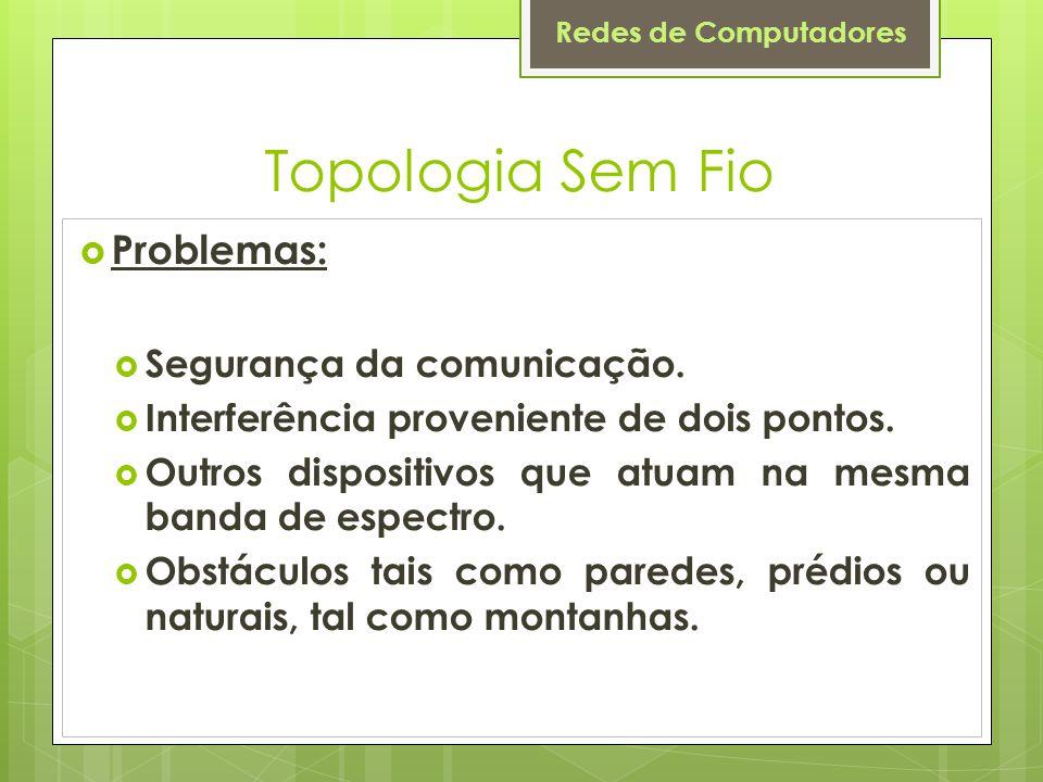 Topologia Sem Fio Problemas: Segurança da comunicação.