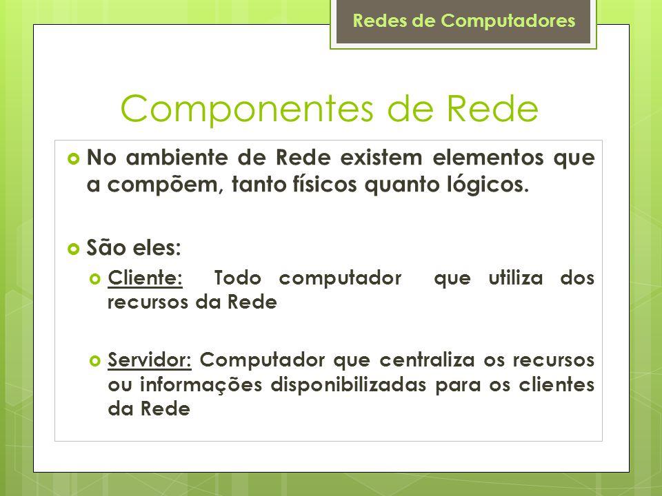 Componentes de Rede No ambiente de Rede existem elementos que a compõem, tanto físicos quanto lógicos.