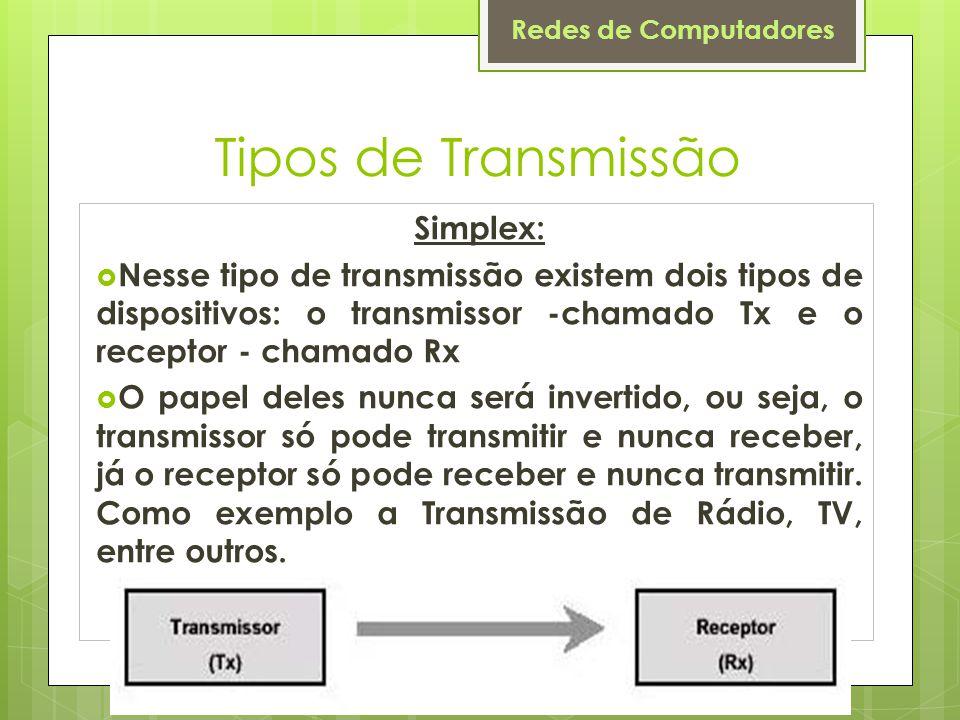 Tipos de Transmissão Simplex: