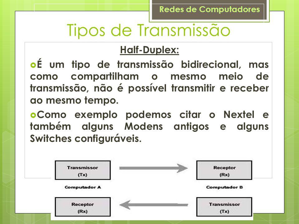 Tipos de Transmissão Half-Duplex: