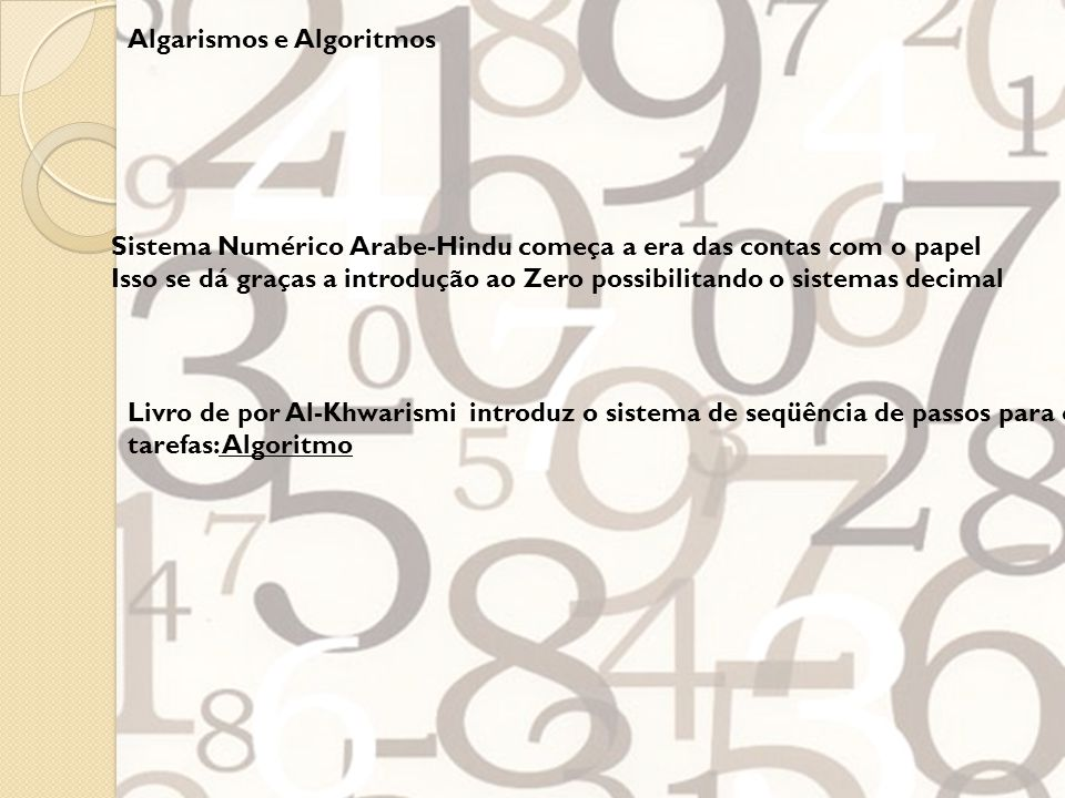 Algarismos e Algoritmos
