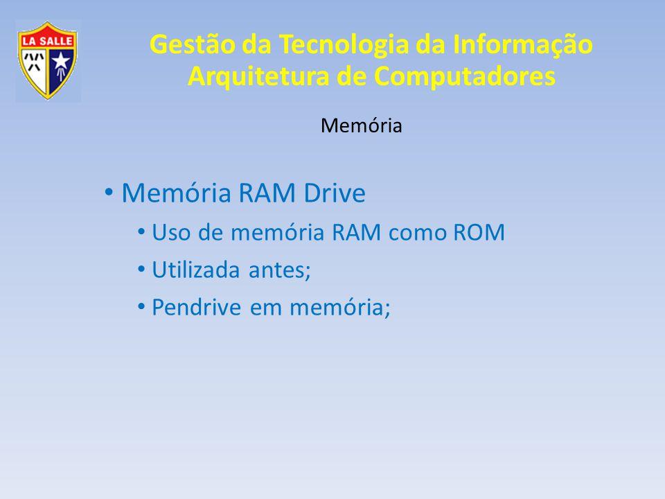 Memória RAM Drive Uso de memória RAM como ROM Utilizada antes;