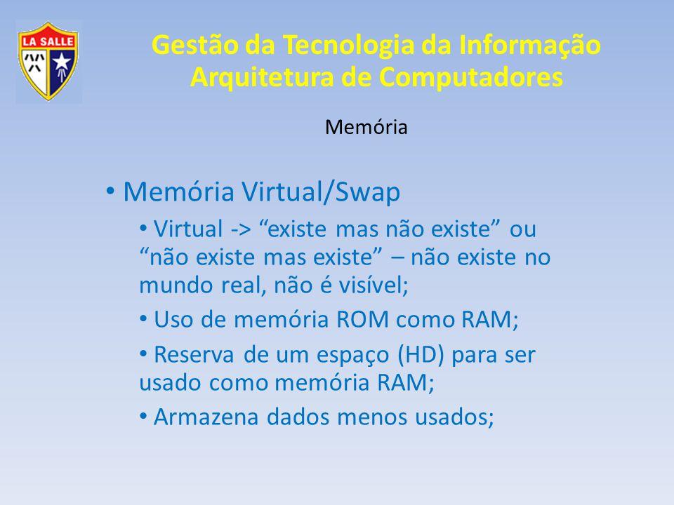 Memória Memória Virtual/Swap. Virtual -> existe mas não existe ou não existe mas existe – não existe no mundo real, não é visível;