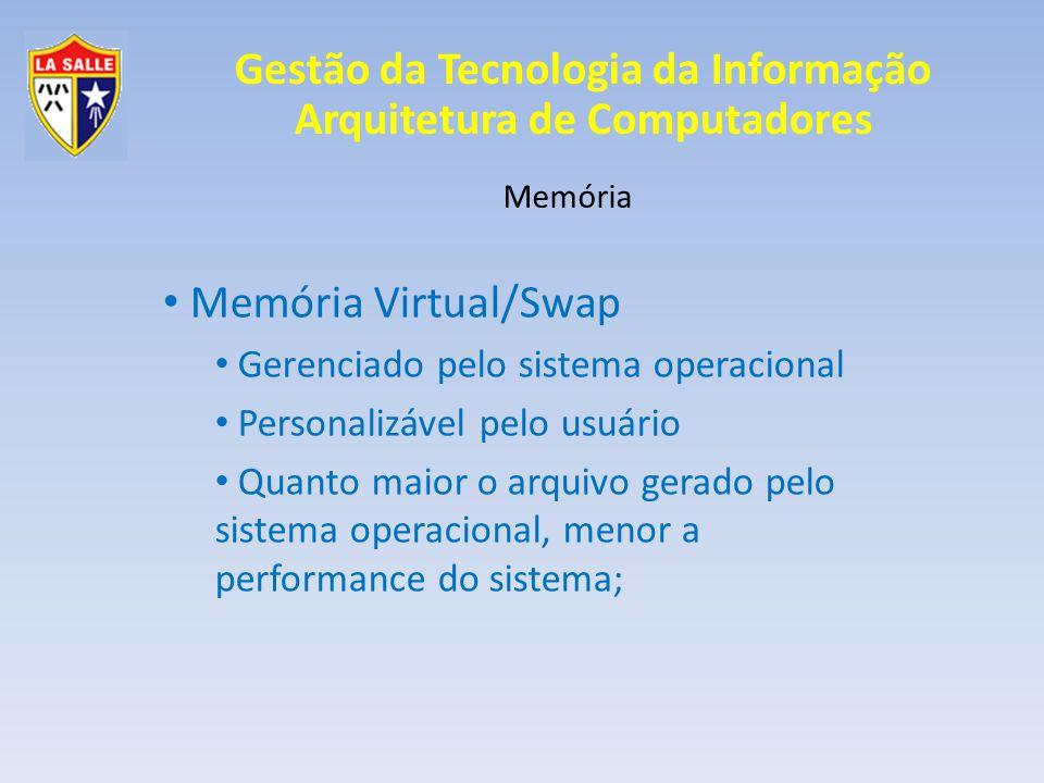 Memória Virtual/Swap Gerenciado pelo sistema operacional