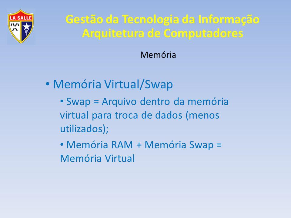 Memória Memória Virtual/Swap. Swap = Arquivo dentro da memória virtual para troca de dados (menos utilizados);