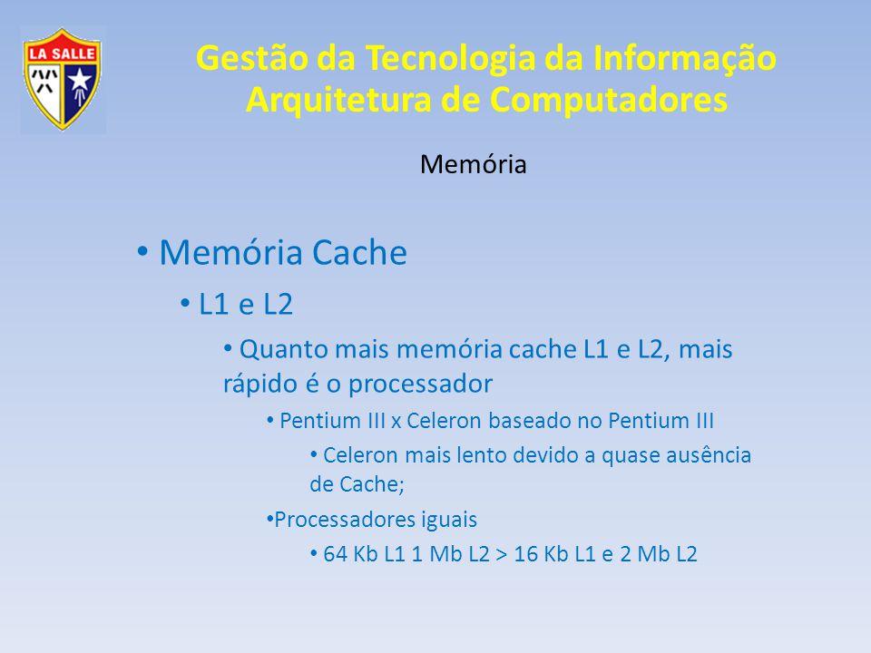 Memória Cache L1 e L2 Memória