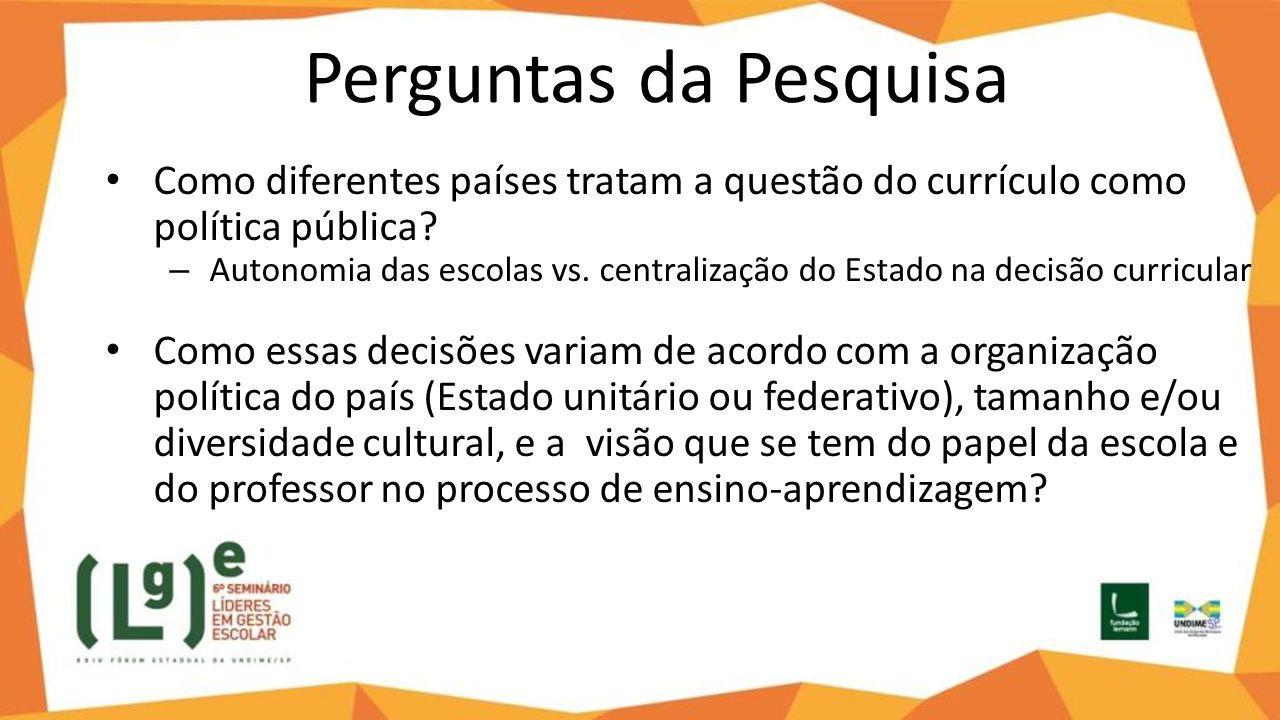 Perguntas da Pesquisa Como diferentes países tratam a questão do currículo como política pública