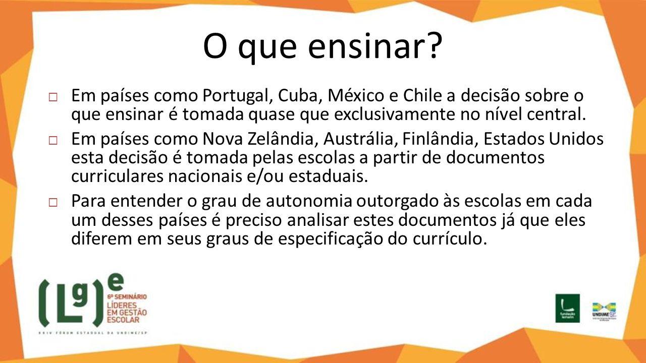 O que ensinar Em países como Portugal, Cuba, México e Chile a decisão sobre o que ensinar é tomada quase que exclusivamente no nível central.