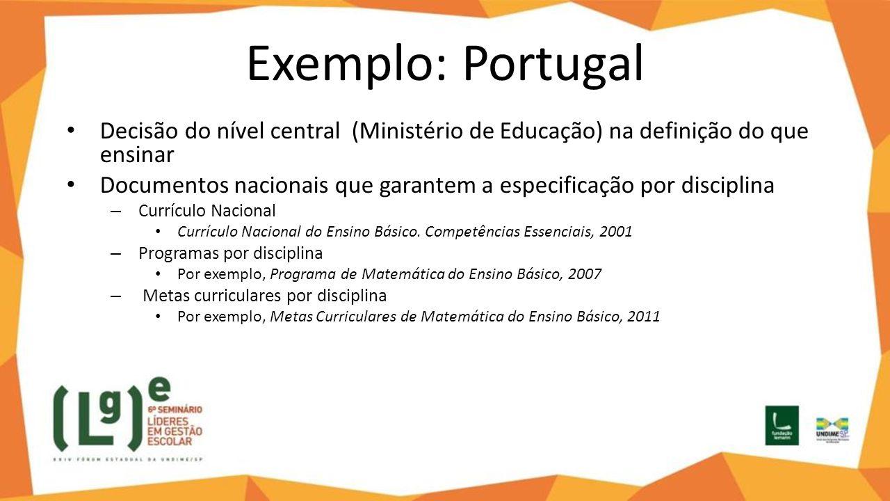 Exemplo: Portugal Decisão do nível central (Ministério de Educação) na definição do que ensinar.