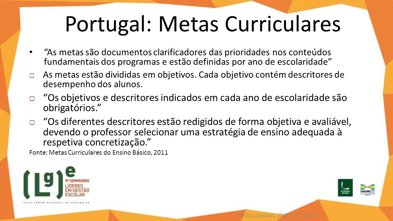 Portugal: Metas Curriculares