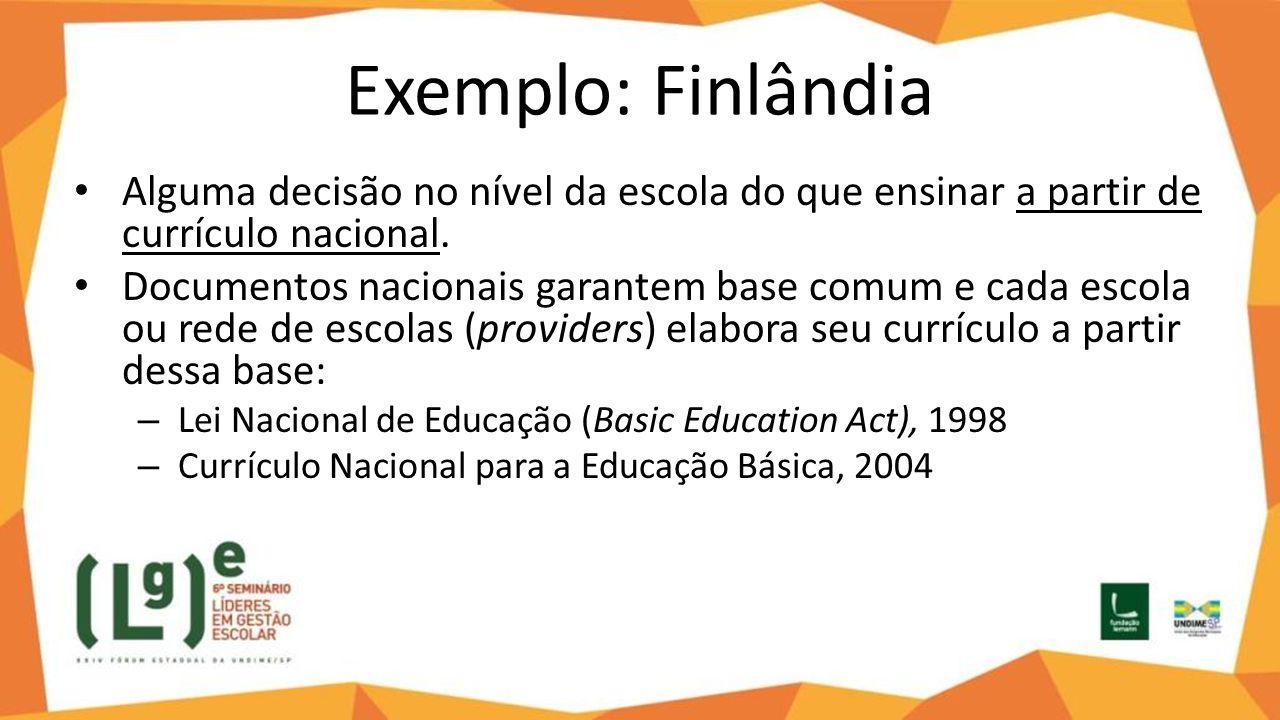 Exemplo: Finlândia Alguma decisão no nível da escola do que ensinar a partir de currículo nacional.
