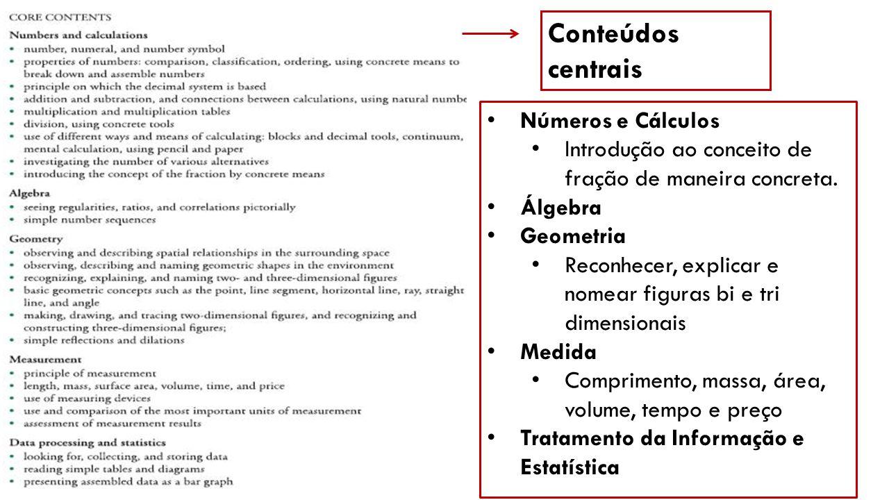 Conteúdos centrais Números e Cálculos