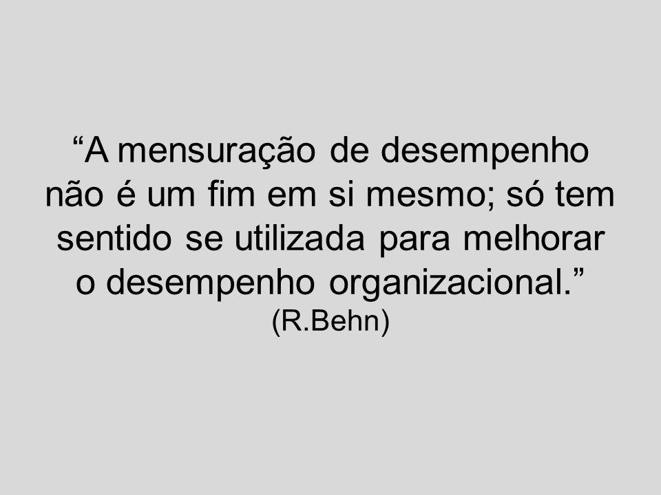 A mensuração de desempenho não é um fim em si mesmo; só tem sentido se utilizada para melhorar o desempenho organizacional. (R.Behn)
