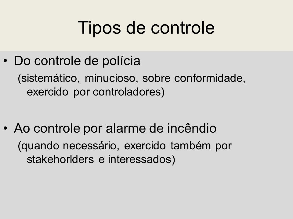 Tipos de controle Do controle de polícia