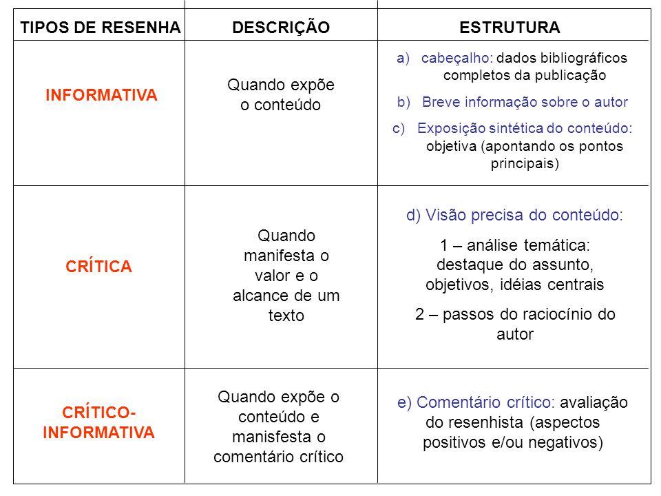 DESCRIÇÃO ESTRUTURA CRÍTICA CRÍTICO-INFORMATIVA