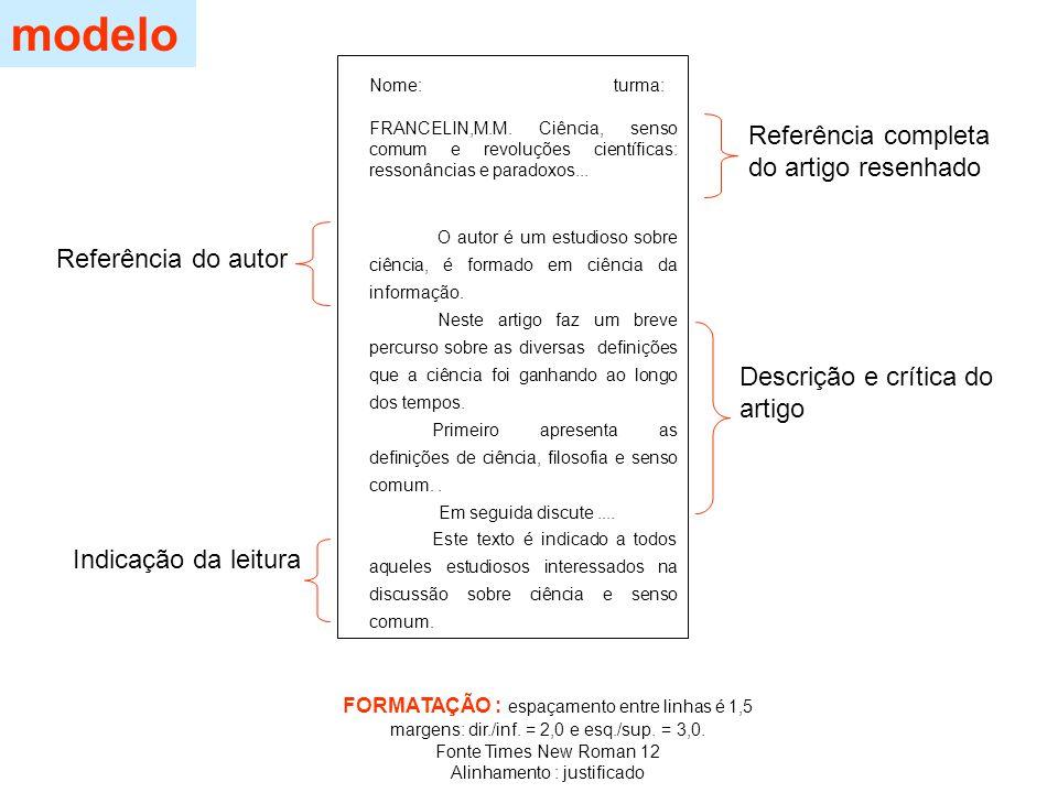 modelo Referência completa do artigo resenhado Referência do autor