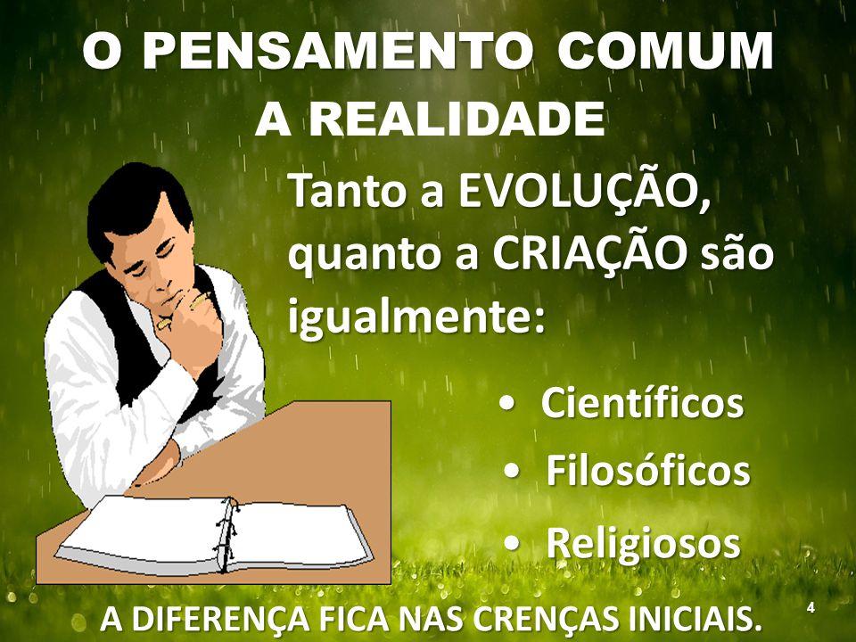 A DIFERENÇA FICA NAS CRENÇAS INICIAIS.