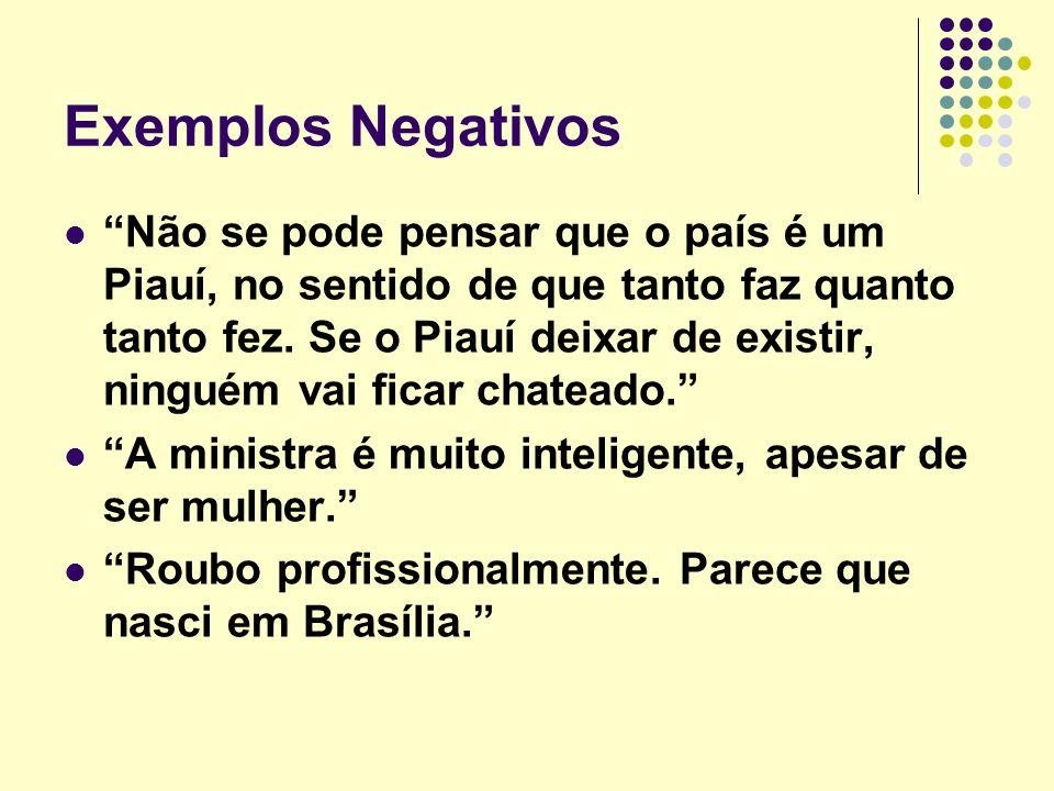 Exemplos Negativos