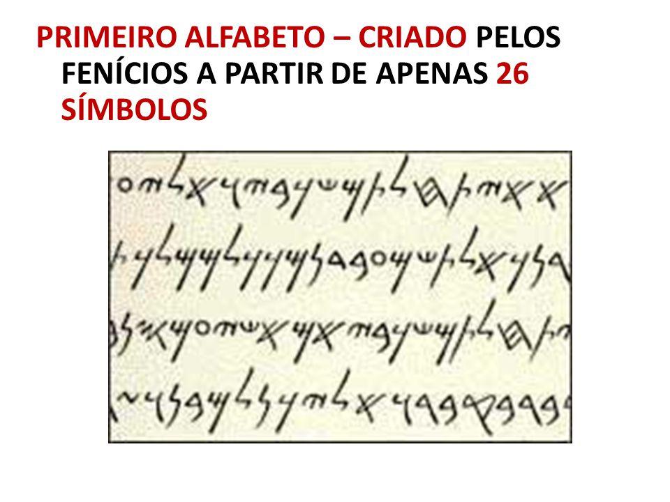 PRIMEIRO ALFABETO – CRIADO PELOS FENÍCIOS A PARTIR DE APENAS 26 SÍMBOLOS