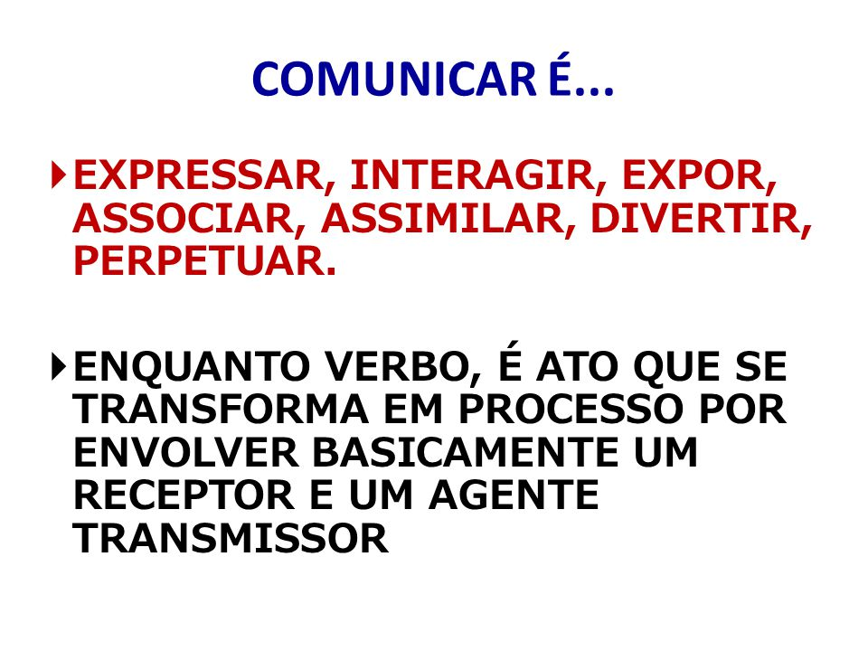 COMUNICAR É... EXPRESSAR, INTERAGIR, EXPOR, ASSOCIAR, ASSIMILAR, DIVERTIR, PERPETUAR.