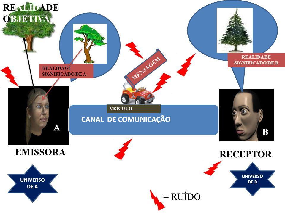 REALIDADE OBJETIVA A B EMISSORA RECEPTOR = RUÍDO CANAL DE COMUNICAÇÃO