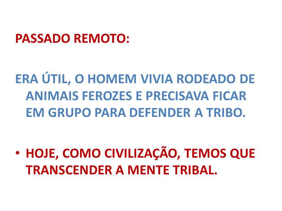 PASSADO REMOTO: ERA ÚTIL, O HOMEM VIVIA RODEADO DE ANIMAIS FEROZES E PRECISAVA FICAR EM GRUPO PARA DEFENDER A TRIBO.