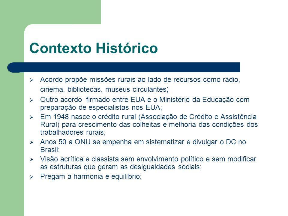 Contexto Histórico Acordo propõe missões rurais ao lado de recursos como rádio, cinema, bibliotecas, museus circulantes;