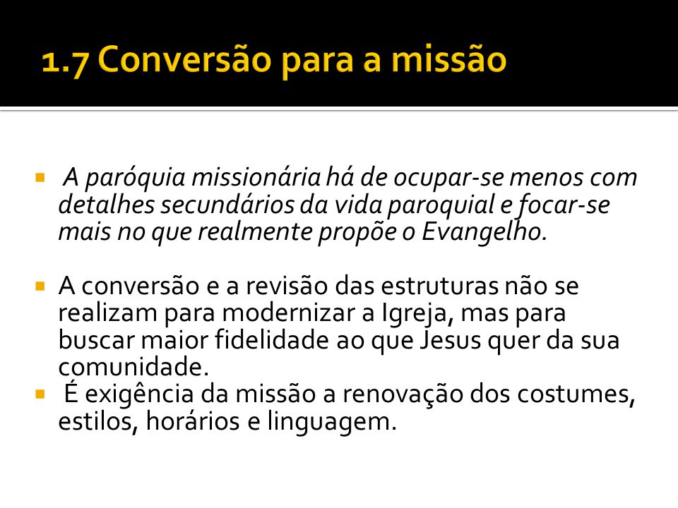 1.7 Conversão para a missão