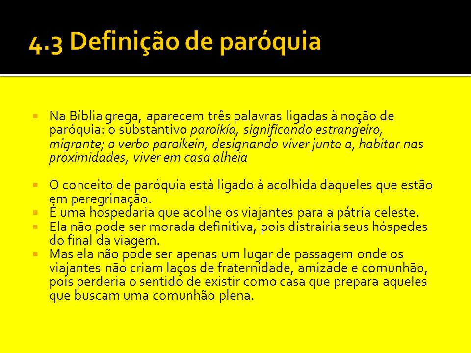 4.3 Definição de paróquia