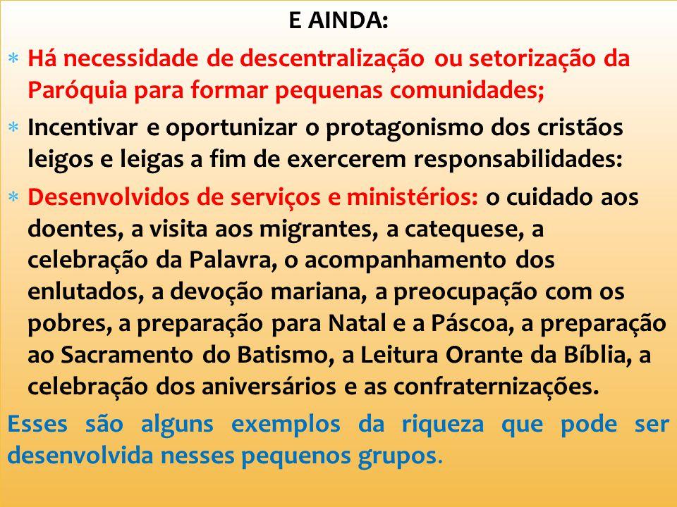 E AINDA: Há necessidade de descentralização ou setorização da Paróquia para formar pequenas comunidades;