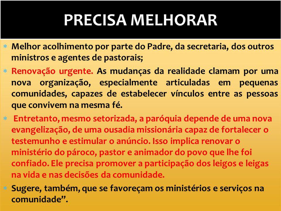 PRECISA MELHORAR Melhor acolhimento por parte do Padre, da secretaria, dos outros ministros e agentes de pastorais;