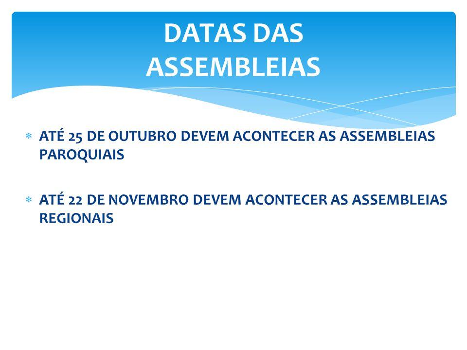 DATAS DAS ASSEMBLEIAS ATÉ 25 DE OUTUBRO DEVEM ACONTECER AS ASSEMBLEIAS PAROQUIAIS.
