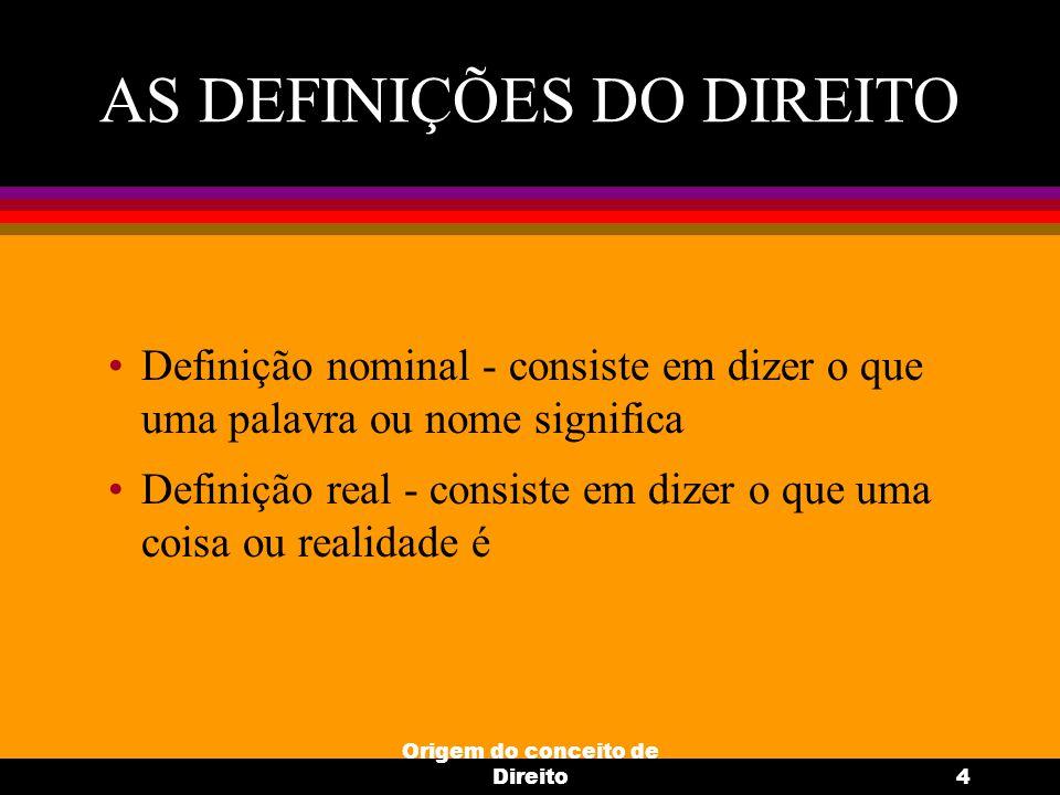 AS DEFINIÇÕES DO DIREITO