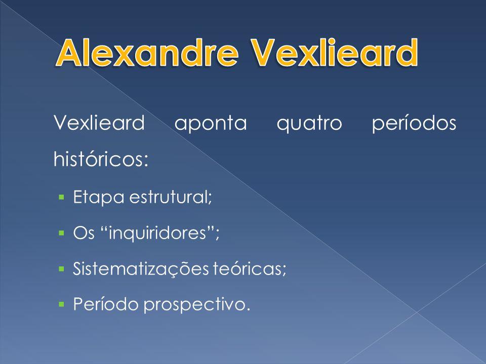 Alexandre Vexlieard Vexlieard aponta quatro períodos históricos: