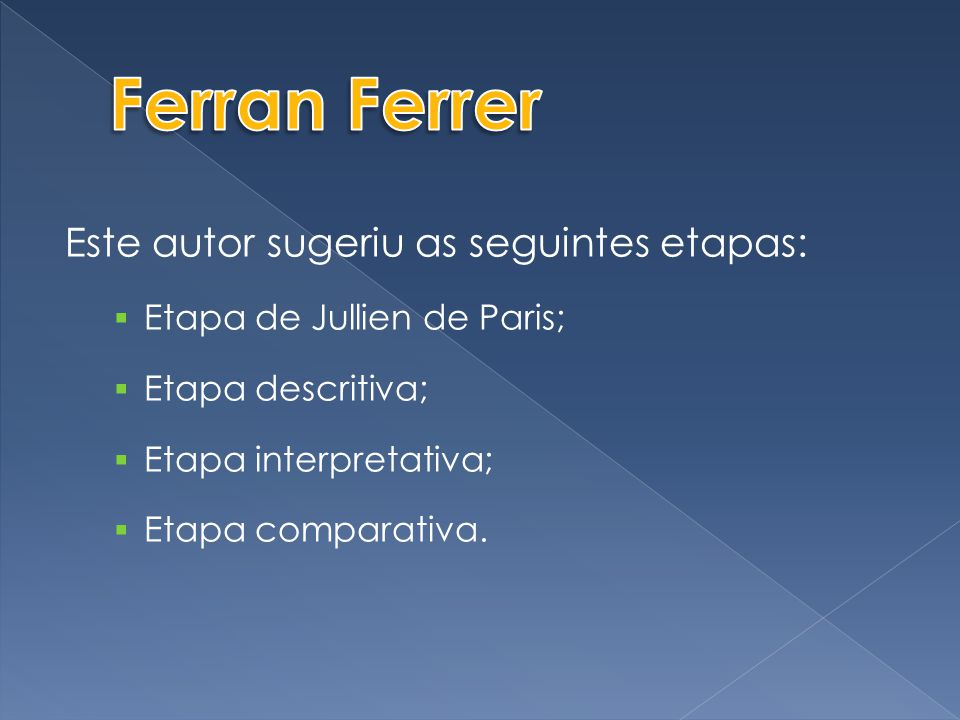 Ferran Ferrer Este autor sugeriu as seguintes etapas: