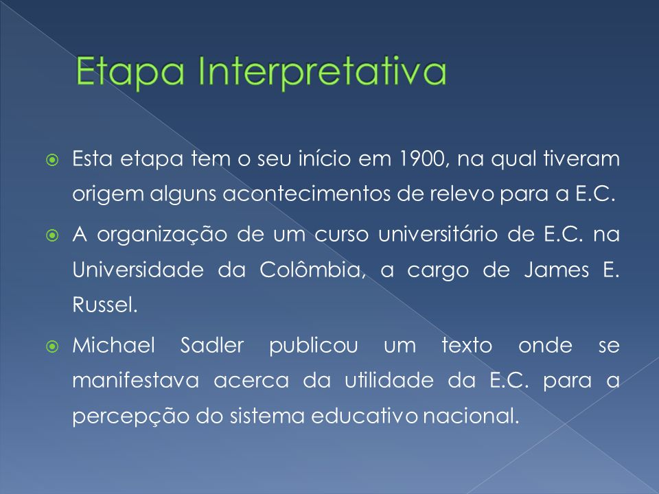 Etapa Interpretativa Esta etapa tem o seu início em 1900, na qual tiveram origem alguns acontecimentos de relevo para a E.C.