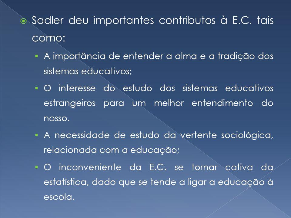 Sadler deu importantes contributos à E.C. tais como:
