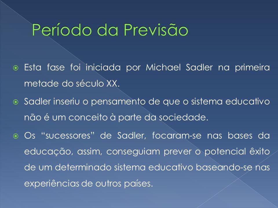 Período da Previsão Esta fase foi iniciada por Michael Sadler na primeira metade do século XX.