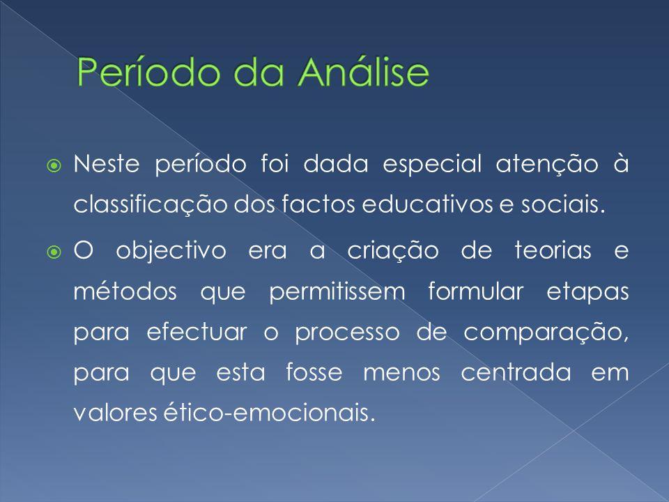 Período da Análise Neste período foi dada especial atenção à classificação dos factos educativos e sociais.