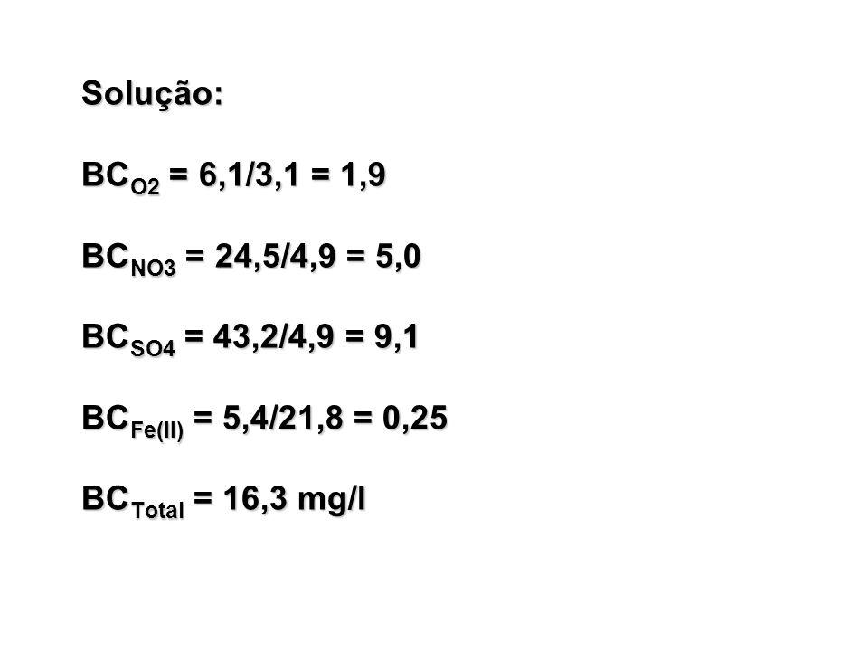 Solução: BCO2 = 6,1/3,1 = 1,9 BCNO3 = 24,5/4,9 = 5,0 BCSO4 = 43,2/4,9 = 9,1 BCFe(II) = 5,4/21,8 = 0,25 BCTotal = 16,3 mg/l